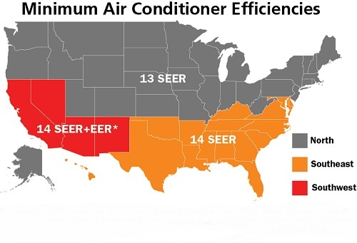 Map of USA with Minimum AC Efficiencies