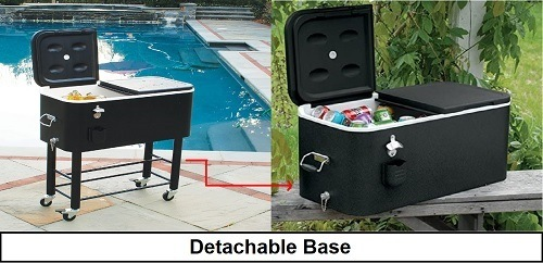 Patio cooler detachable base